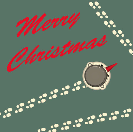 Merry Christmas greeting card with snowman illustration. Vector
