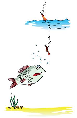 Fishing on the float rod illustration.