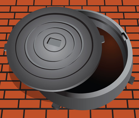 descending: Manhole cover on the brick pavement illustration.