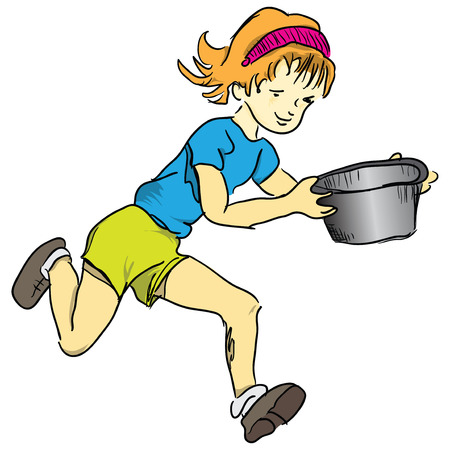 Running girl with a saucepan illustration.