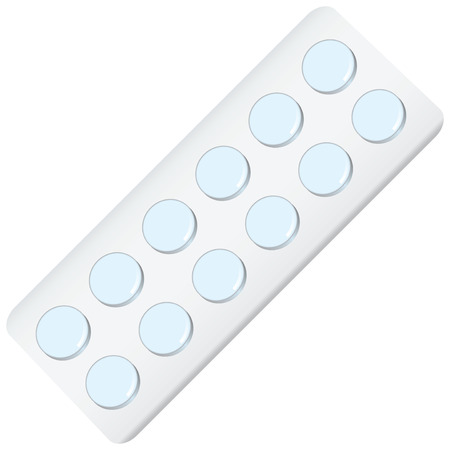 a tablet blister: Packing with tablets twelve blue pill illustration.