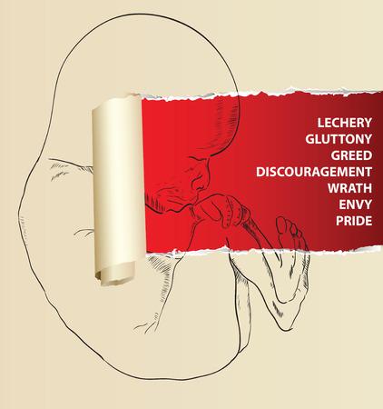 seven deadly sins: Human embryo in creativity