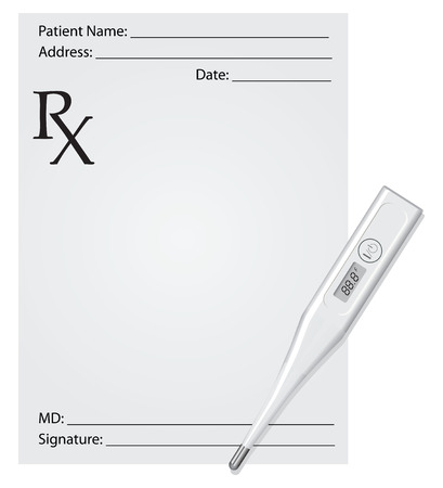 Medical prescription with a digital thermometer. Zdjęcie Seryjne - 26980480