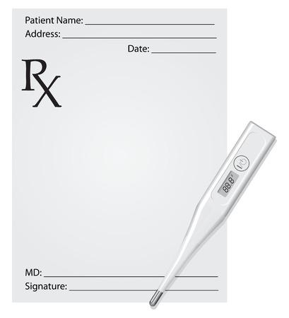 digital thermometer: Prescrizione medica con un termometro digitale.
