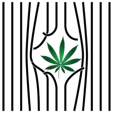 Cannabis leaf with damaged prison bars.  Illustration