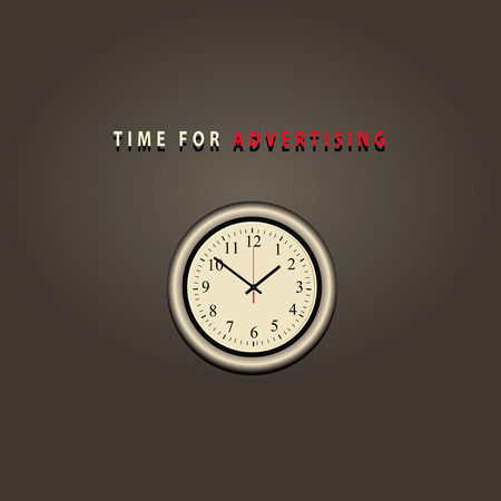 clockface: Wall clock with text time for advertising.