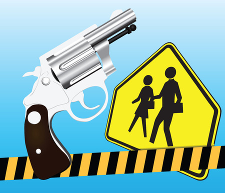 school: Creative on weapons and school.  Illustration