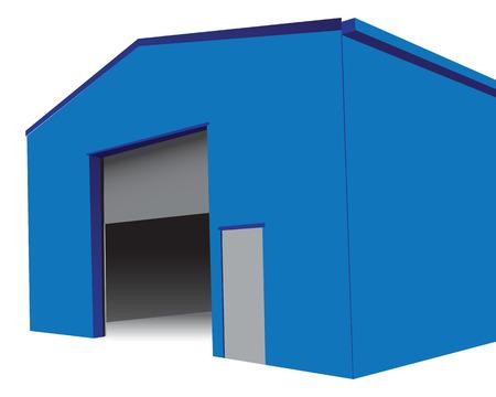 hangar: Industrial hangar with an open gate.
