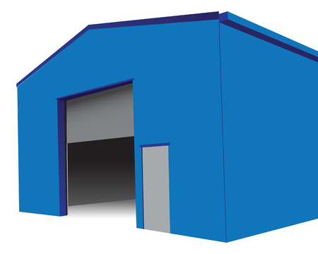 Industrial hangar with an open gate.