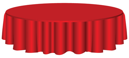 table surface: Round table with red tablecloth.  Illustration