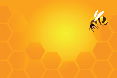 Background with bees and honeycombs.