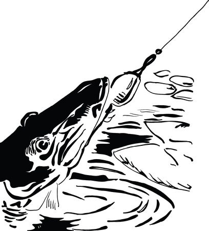 rapala: Pike fishing lure, sport fishing Illustration