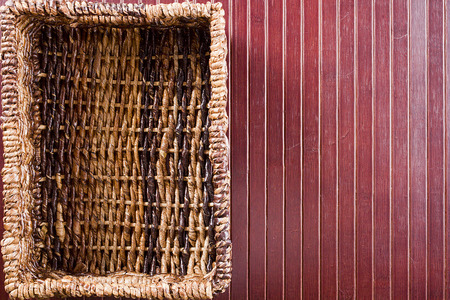 tillable: Background with a rectangular wicker basket. Cooking utensils. Stock Photo