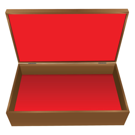 Wooden jewelry box with red upholstery. Vector illustration.