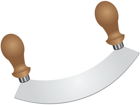 chive: Knife for chopping greens with a single blade. Vector illustration.