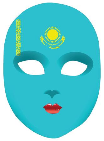 statehood: Classic mask with symbols of statehood of Kazakhstan. Vector illustration