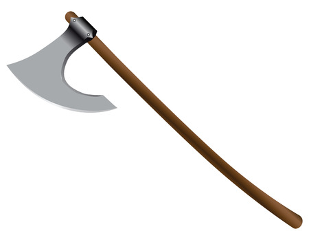 Executioner s ax on a long wooden handle  Vector illustration