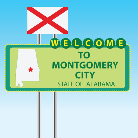 montgomery: Stand Welcome to Montgomery City State of Alabama  Vector illustration  Illustration