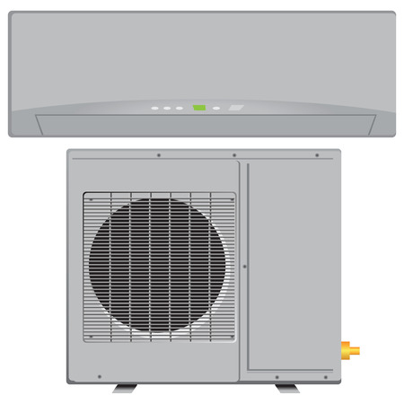Modern compact air conditioner for office and residential space. Vector illustration. Stock Illustratie
