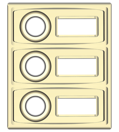 Block doorbell buttons with place for information. Vector illustration.