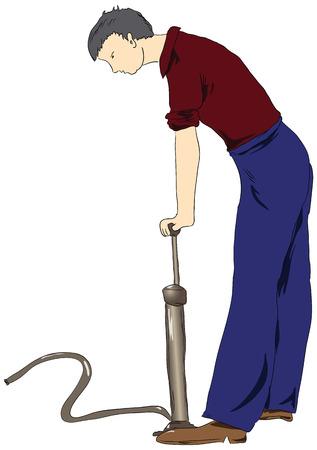 A man operates the air pump. Vector illustration. Illustration