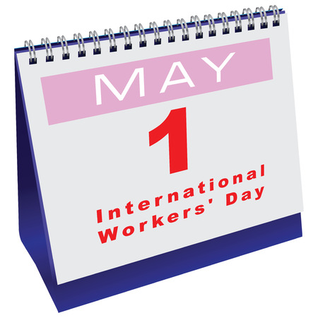 Office calendar with the date of International Workers Day. Vector illustration.