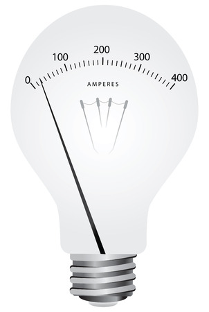 ammeter: Creative lamp with scale ammeter. Vector illustration.