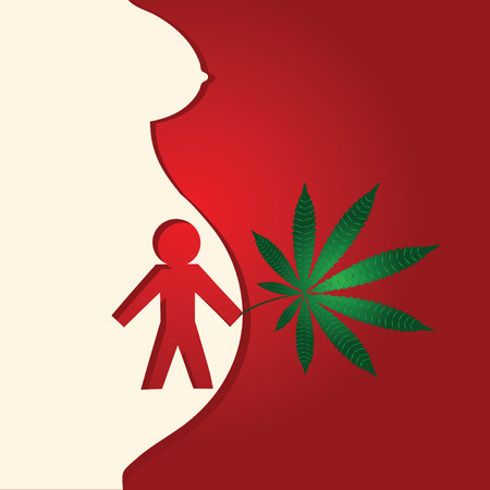 Effect of drugs on pregnant, pregnant and cannabis leaf. Vector illustration.
