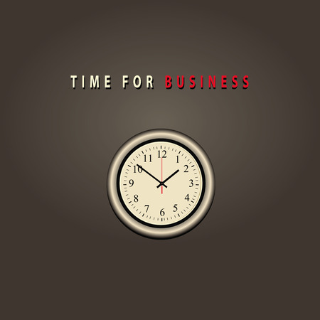 clockface: Wall clock with text time for business. Vector illustration. Illustration