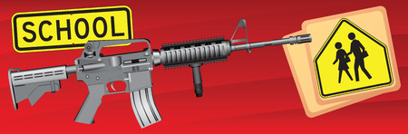 Creative on weapons and school. Vector illustration.