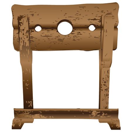 immobilize: Wooden block for punishment in the Middle Ages. Vector illustration.