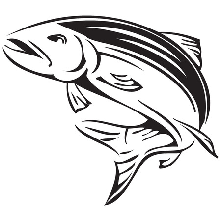 Salmon rivers symbol of Alaska. Vector illustration.