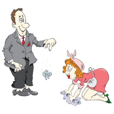 Office worker humiliates cleaner. Cartoon vector illustration. Illusztráció