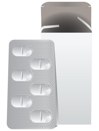 Metal plate with pills and a cardboard box. Vector illustration. Vector