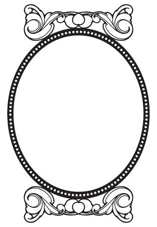 Vintage frame for decorative works. Vector illustration.