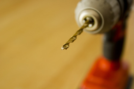 chuck: Borer chuck clamped electric drill. Drilling equipment. Stock Photo