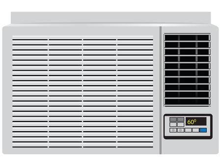 Apparaat ingebouwd venster airconditioner. Vector illustratie.