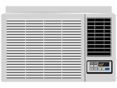 air power: Appliance built in window air conditioner. Vector illustration.