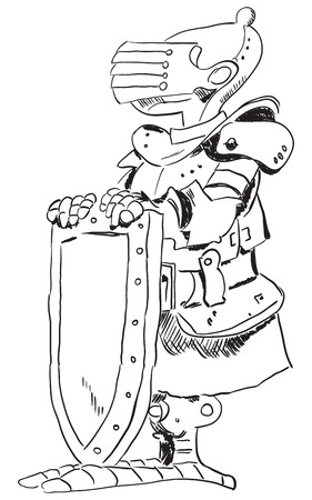 hauberk: Medieval knight in armor with a shield. Cartoon drawing. Illustration