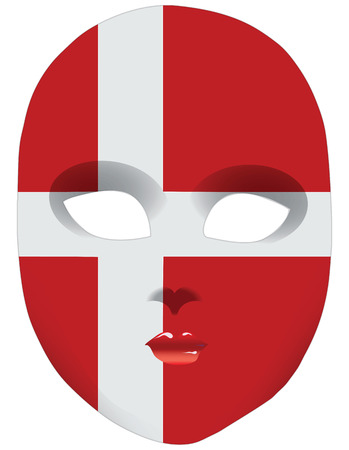 statehood: Classic mask with symbols of statehood of Denmark. Vector illustration