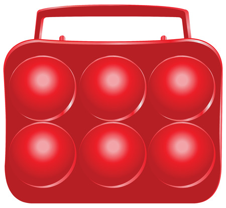 six objects: Plastic container for carrying and storing eggs. Vector illustration.