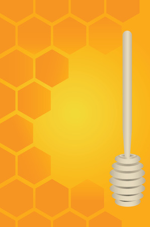 Wooden honey dipper and honeycomb as a backdrop. Vector illustration.