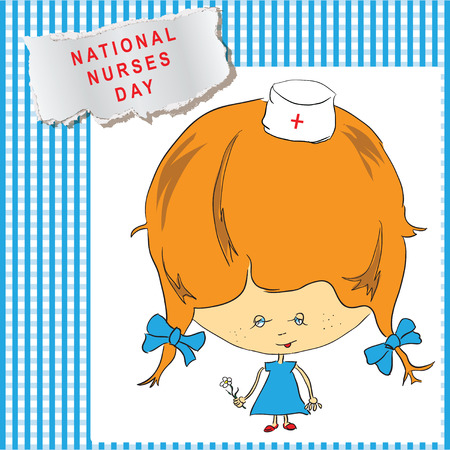 National Nurses Day cheerful poster. Vector illustration. Vector