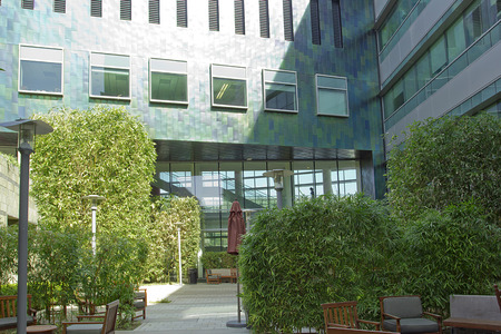 Courtyard of the office building of glass and concrete.