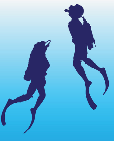 Man and woman in scuba underwater swimmers. Vector illustration.
