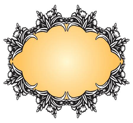 Antique vintage frame with floral decoration. Vector illustration.