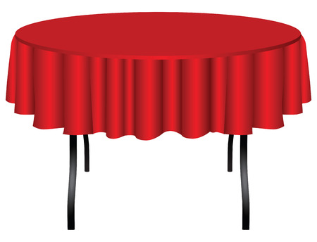 table surface: Round table on legs covered with a red cloth.  Illustration