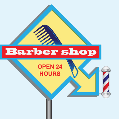Barbershop sign with an arrow indicating the direction  illustration