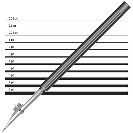 width: Old version of the drawing pen with a line width options.  Illustration