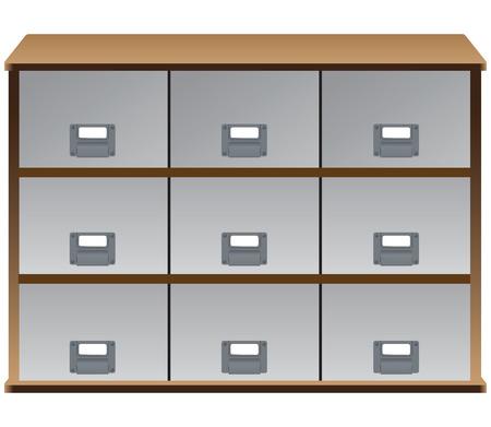 Organizzatore del cassetto con cassetti e le etichette sulle maniglie
